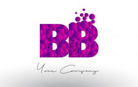 Illustration pour BB B B Pois Lettre Logo avec Violet Rose Magenta Bulles Texture vecteur . - image libre de droit