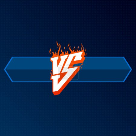 Red versus logo with blue board. VS letters illustration. Competition Icon. Fight Symbol.