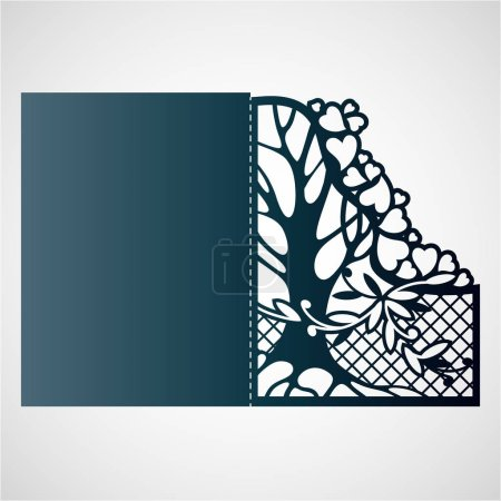 Illustration for Openwork card with tree and hearts. Laser cutting template for greeting cards, envelopes, wedding invitations. - Royalty Free Image