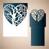 Openwork heart with a tree inside Laser cutting template for wedding envelopes and invitations