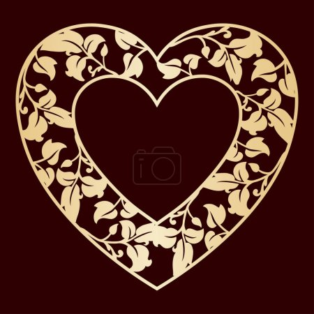 Openwork heart with leaves. Golden vector frame. Laser cutting template.