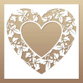 Openwork white frame with heart and leaves Laser cutting template