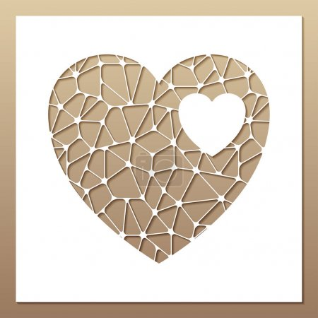 Illustration for White frame with openwork heart inside. Laser cutting template for greeting cards, envelopes, wedding invitations, interior decorative elements. - Royalty Free Image