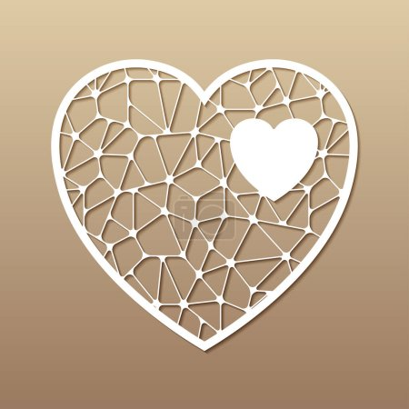 Openwork heart. Laser cutting template for greetin...