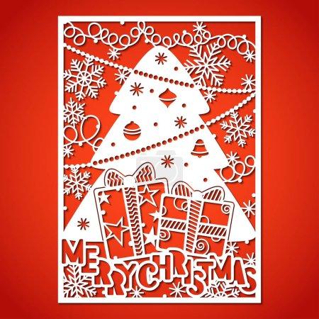 Illustration pour Arbre de Noël avec décorations. Modèle de découpe laser pour cartes de vœux, enveloppes, invitations, éléments intérieurs . - image libre de droit