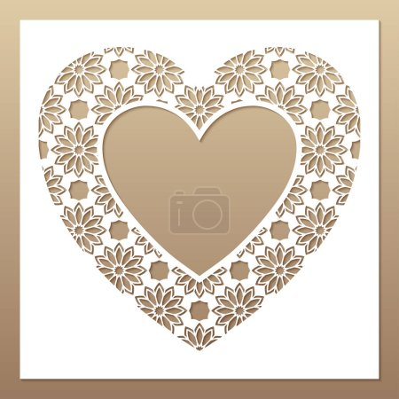 Illustration for White frame with openwork heart. Laser cutting template for greeting cards, envelopes, wedding invitations, interior decorative elements. - Royalty Free Image