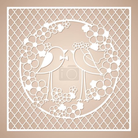 Wedding two birds among the flowers. Openwork square ornament. Laser cutting template.