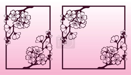 A branch of cherry or sakura blossoms. Laser cutting templates.