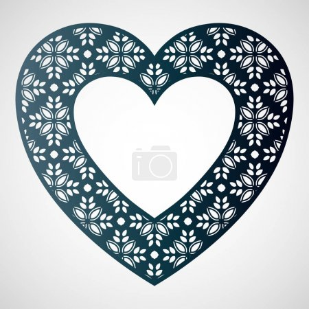 Openwork heart with floral pattern. Vector frame. Laser cutting template.