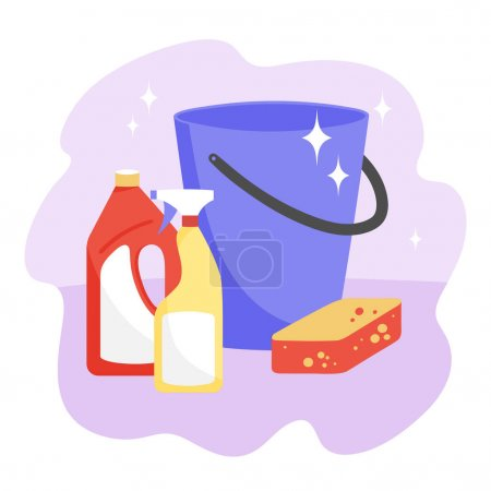 Set of items for wet cleaning. Vector illustration.