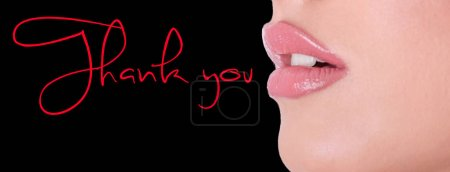 Thank you inscription with lips
