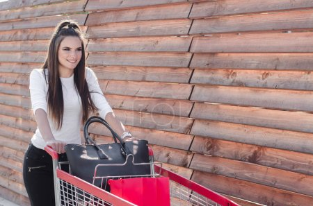 girl goes shopping with a shopping trolley