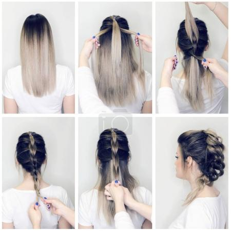 Photo for Before and after hairstyle tutorial. Hairdresser making amazing hairstyles step by step. - Royalty Free Image