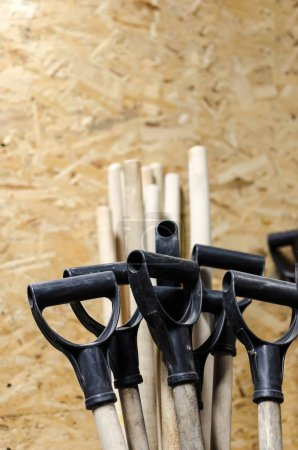 spring storage of the yard,Garden tools with selective focus