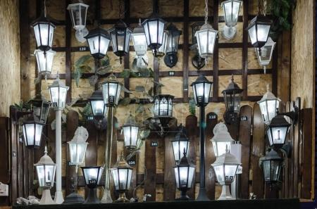 shop for lighting and lamps for the yard,lot, selective focus
