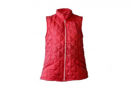 red autumn or winter warm vest isolated on white background