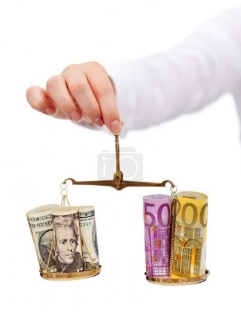 Currency exchange rates and currency wars concept