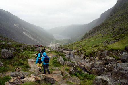 Group of tourists in the Wicklow Mountains.Ireland.