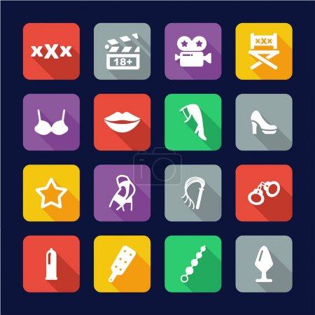 Adult Movie Icons Flat Design
