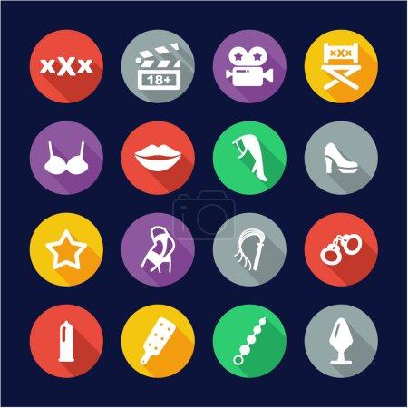 Adult Movie Icons Flat Design Circle