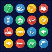 Amazon Rainforest Icons Flat Design Circle