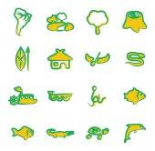 Amazon Rainforest Icons Freehand 2 Color