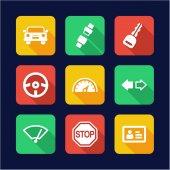 Driving School Icons Flat Design