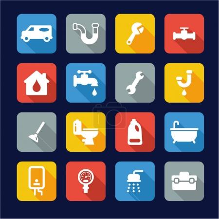 Illustration for This image is a illustration and can be scaled to any size without loss of resolution. Plumbing Icons Flat Design - Royalty Free Image
