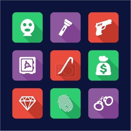 Thief Icons Flat Design