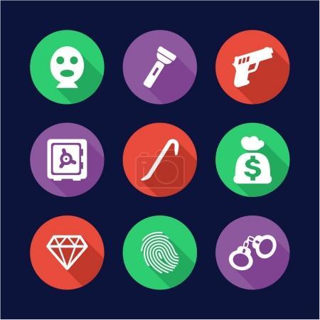 Thief Icons Flat Design Circle