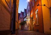 BREMEN, GERMANY - 17 APR 2016: Historic streets of illuminated Schnoor quarter at night