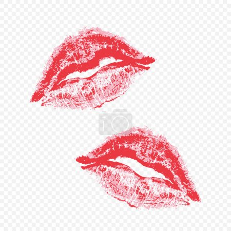 Imprint beautiful red lips on transparent backgrou...