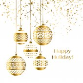 Decorative xmas baubles vector illustration Five gold decoration Christmas balls hanging isolated
