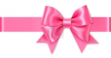 Illustration for Beautiful pink bow isolated on white background, vector illustration - Royalty Free Image