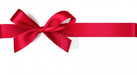 Illustration for Vector red bow with ribbon isolated on pink background - Royalty Free Image