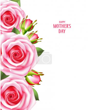 Mother day card with pink roses