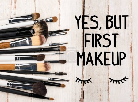 Photo for Top view of set of various brushes for makeup on table - Royalty Free Image