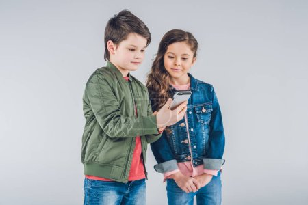Children using smartphone
