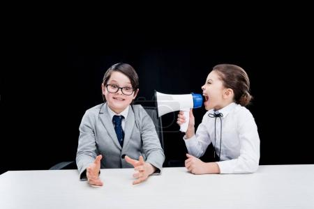 Children playing businesspeople