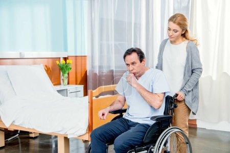 elderly wheelchair man in hospital