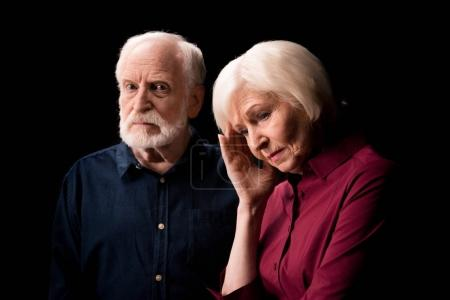 Photo for Serious senior couple isolated on black, active senior couple concept - Royalty Free Image