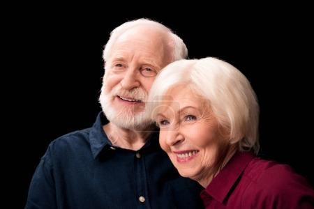 Photo for Portrait of senior couple smiling isolated on black, senior couple happy concept - Royalty Free Image