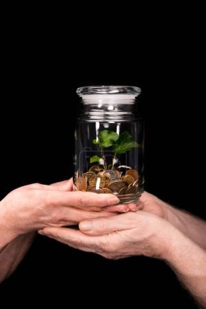 Photo for Close-up partial view of senior couple standing and holding coins and plant in jar - Royalty Free Image