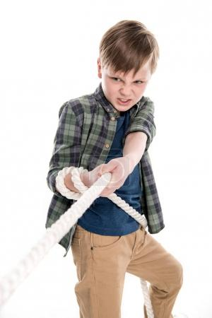 Boy pulling rope