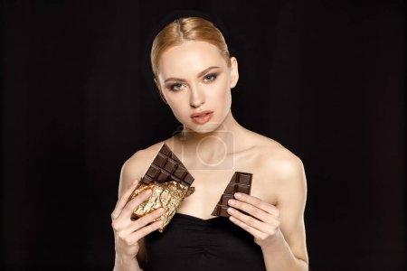 woman with chocolate bars