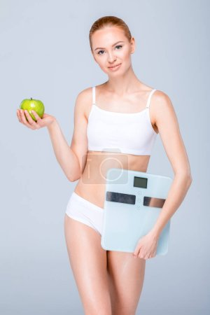 Woman with digital scales
