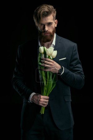 stylish man with tulips