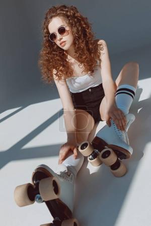 red hair hipster girl sitting