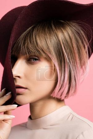 fashionable woman in wide-brimmed hat