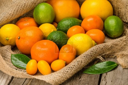 Photo for Close-up view of various fresh ripe citrus fruits on sackcloth - Royalty Free Image